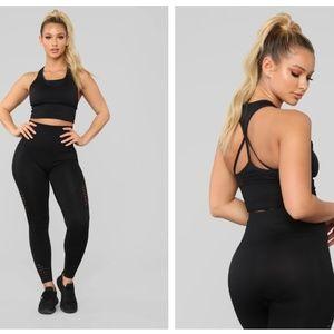 Fashion Nova With Ease Seamless Matching Set Black
